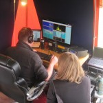 Iain M0PCB operating, assisted by Chloe M0GEJ